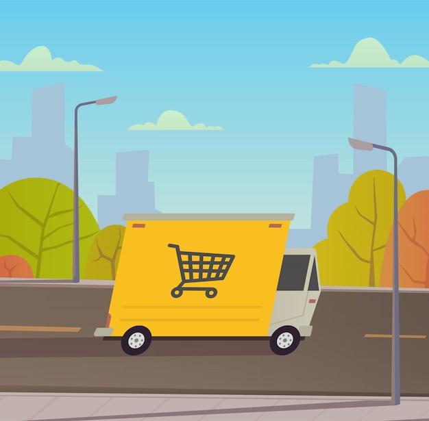 Lieferwagen mit stadtlandschaft. Premium Vektoren
