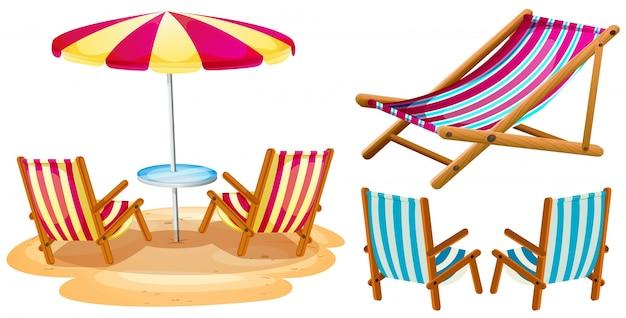 Sonnenschirm strand clipart  Liegestühle und Sonnenschirm | Download der kostenlosen Vektor