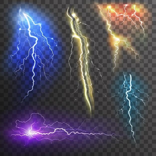 Lightning transparent in verschiedenen farben realistisch gesetzt Kostenlosen Vektoren