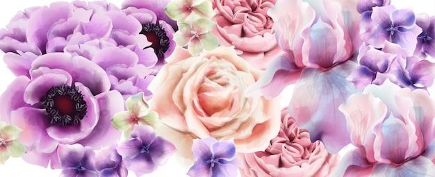 Lila blumen aquarell. provence rustikales plakat. hochzeitskarte, dekore für geburtstagszeremonien Premium Vektoren
