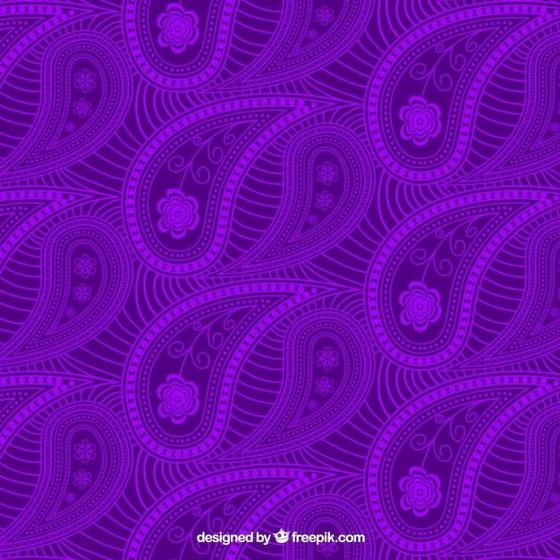 Lila hand gezeichnet paisley muster mit blumen download for Lila tapete mit muster