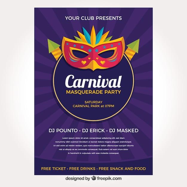 Lila Karneval Flyer Vorlage Download Der Kostenlosen Vektor