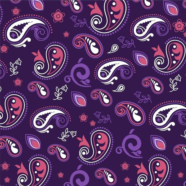 Lila paisley bandana muster Premium Vektoren
