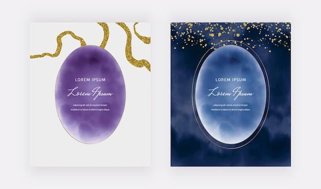 Lila und dunkelblaue aquarellkarten mit ovalen rahmen und goldenen glitzerlinien und konfetti Premium Vektoren