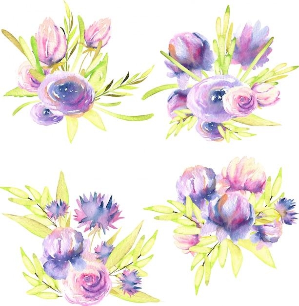 Lila und rosa pfingstrosen des aquarells, rosen- und asternblumensträuße Premium Vektoren