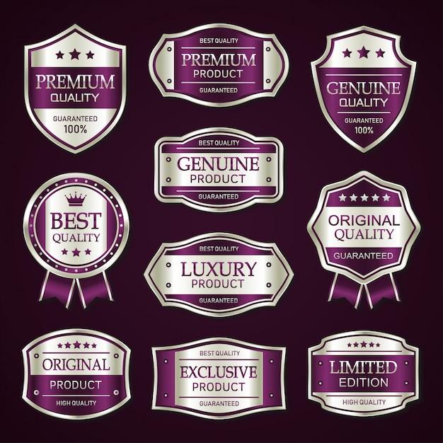 Lila und silber premium vintage abzeichen und etiketten sammlung Premium Vektoren