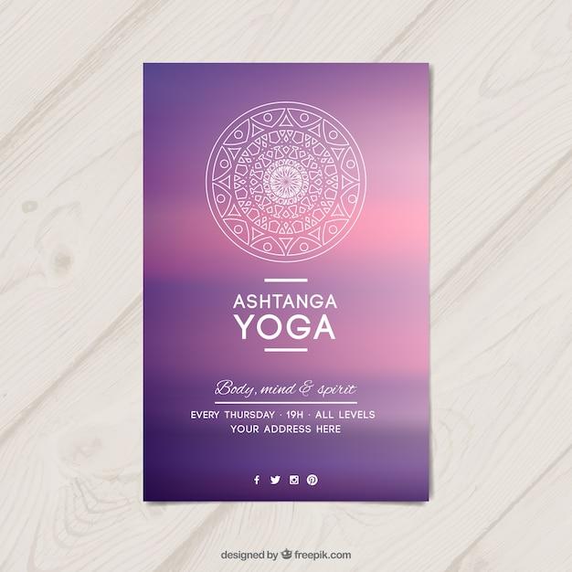 Lila yoga-flyer Kostenlosen Vektoren
