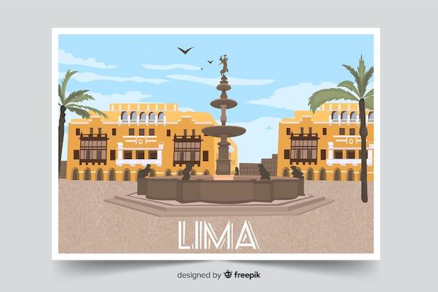 Lima zentrum stadthintergrund Kostenlosen Vektoren