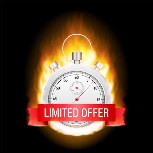 Limited offer labels. wecker countdown-logo. Premium Vektoren
