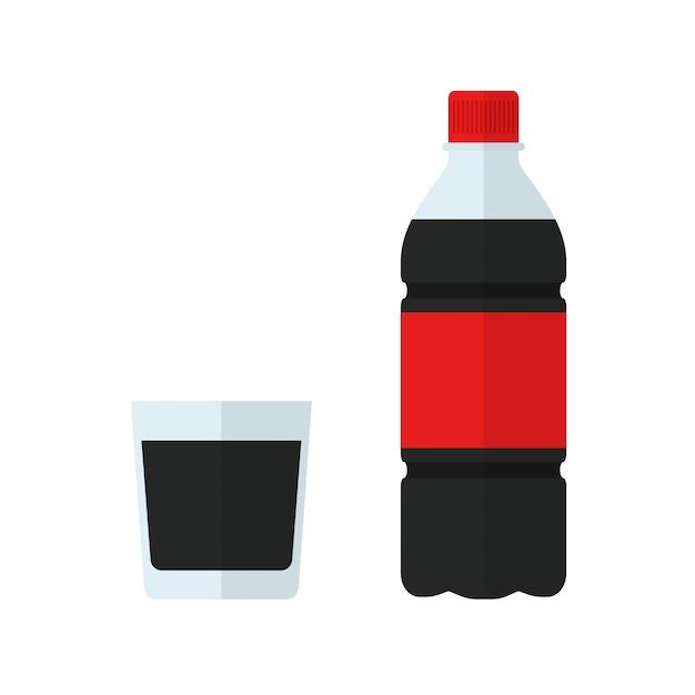 Limo-flasche und glas. trinken sie im flachen stil isoliert Premium Vektoren