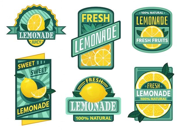 Limonadenabzeichen. zitronensirup, frische limonaden embleme und zitronenfruchtsaft trinken vintage abzeichen gesetzt Premium Vektoren