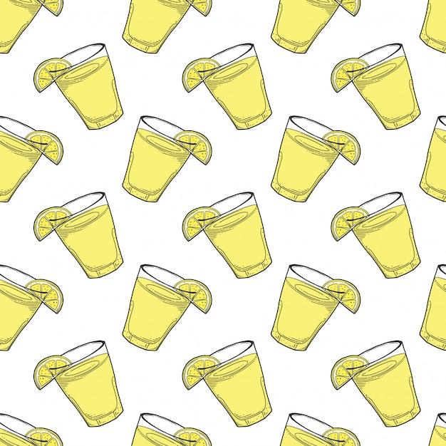 Limonadenschale mit nahtlosem muster der zitronenscheibe in der gekritzel- und skizzenart. Premium Vektoren