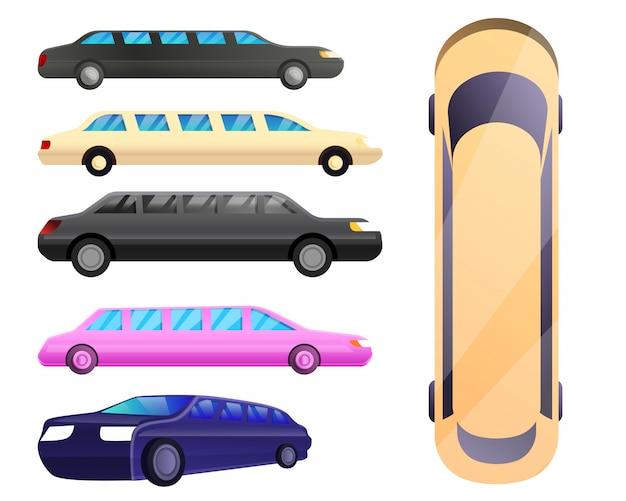 Limousinen-set im cartoon-stil Premium Vektoren