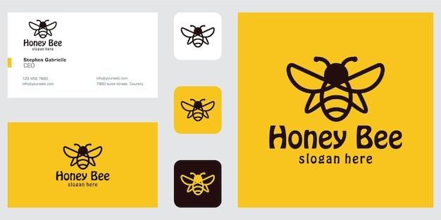 Line art biene logo design inspiration und visitenkarte Premium Vektoren