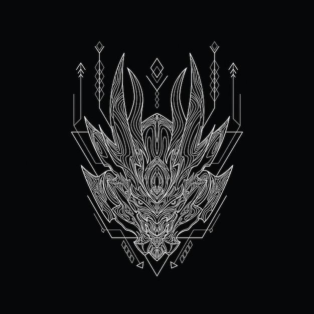 Line art file hell mit heiliger geometrie Premium Vektoren