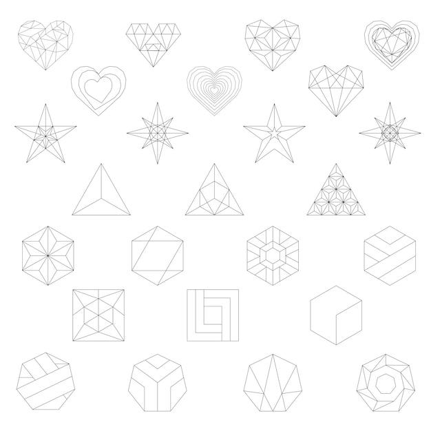Lineare darstellung von geometrischen formen Kostenlosen Vektoren