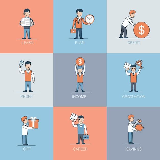 Lineare flache geschäftsmann- und objektsituationen. lernen, planen, kreditieren, profitieren, graduieren, schenken und sparen geschäftskonzept. Kostenlosen Vektoren