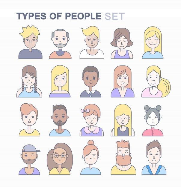 Lineare flache leute stellen ikonensatz gegenüber. social media-avatar, benutzerbilder und profile. Kostenlosen Vektoren