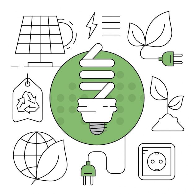Lineare grüne energie icons minimale umweltelemente Kostenlosen Vektoren