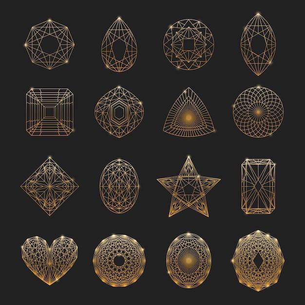 Lineare ikonen der edelsteine eingestellt Premium Vektoren