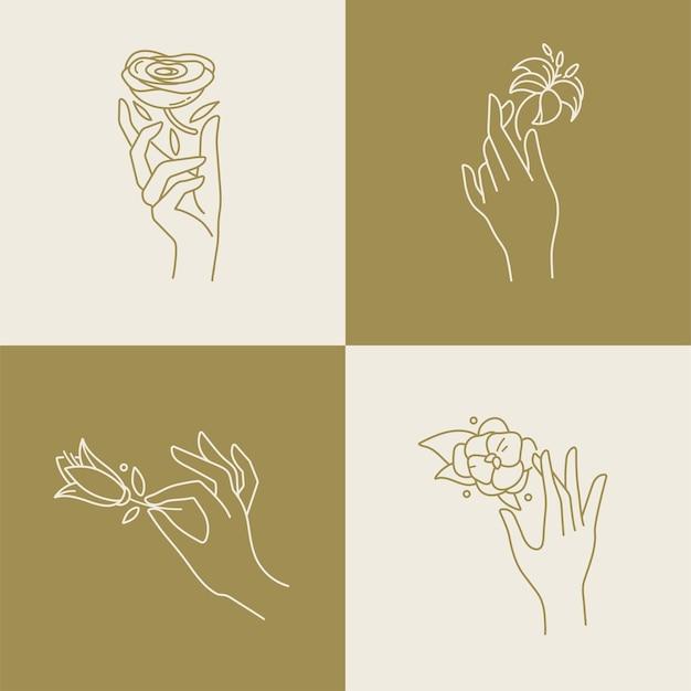 Lineare schablonenlogos oder embleme - hände in verschiedenen gesten mit blumen. Premium Vektoren