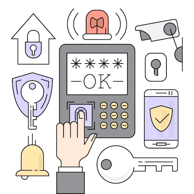 Lineare sicherheit icons Kostenlosen Vektoren