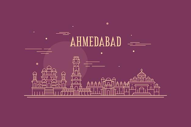 Lineare skyline von ahmedabad Kostenlosen Vektoren