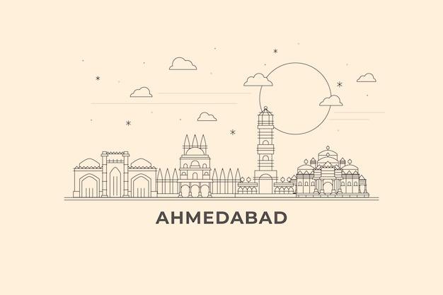 Lineare skyline von ahmedabad Premium Vektoren