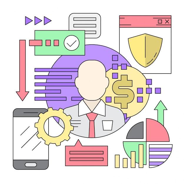 Lineare stil icons minimal web und business elements Kostenlosen Vektoren