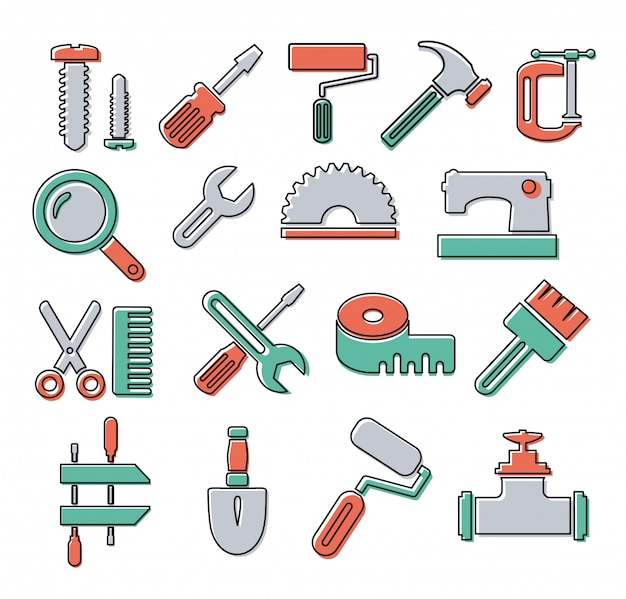 Lineare symbole mit bauwerkzeug- und objektreparatur Premium Vektoren