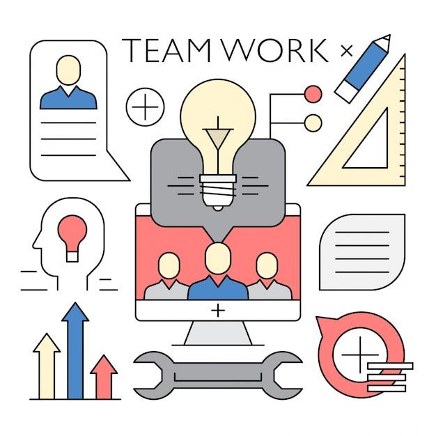 Lineare Teamarbeit und Business Vector Elements Kostenlose Vektoren