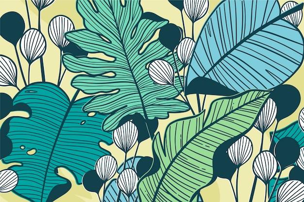Lineare tropische blätter im pastellfarbkonzept Kostenlosen Vektoren