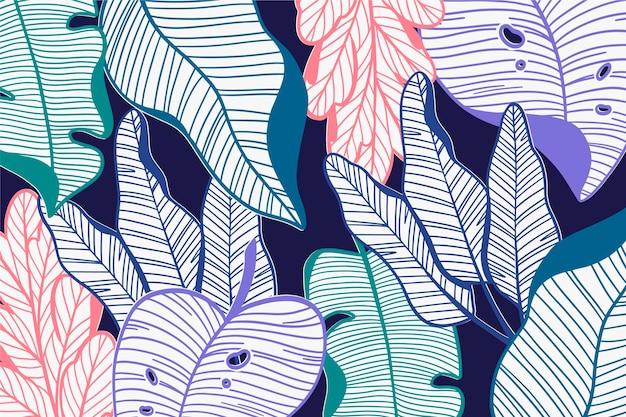 Lineare tropische blätter im pastellfarbthema Kostenlosen Vektoren