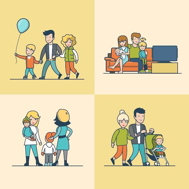 Lineare wohnung familie, die auf der couch fernsieht, mit ballon oder baby im kinderwagen im freien spazieren geht. casual life parenting-konzept. Kostenlosen Vektoren