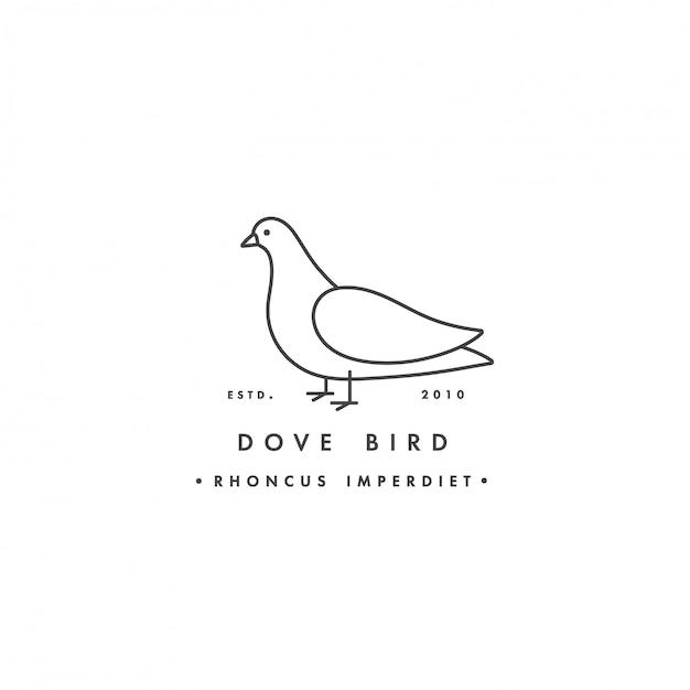 Linearer logo-taubenvogel auf weißem hintergrund. taubenbunte embleme oder abzeichen. Premium Vektoren