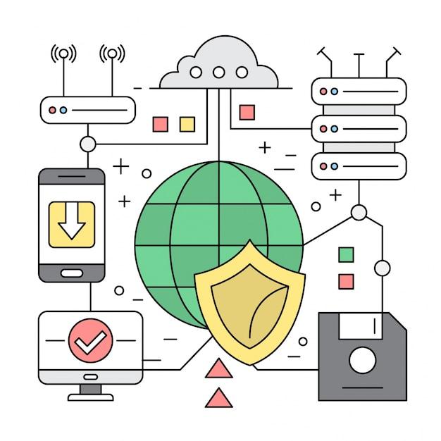 Linearer stil icons server und cloud computing konzept elemente Kostenlosen Vektoren