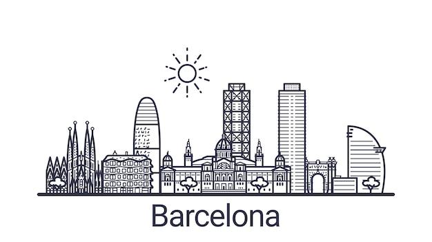 Lineares banner der stadt barcelona. alle gebäude in barcelona - anpassbare objekte mit deckkraftmaske, sodass sie die komposition und die hintergrundfüllung einfach ändern können. strichzeichnungen. Premium Vektoren