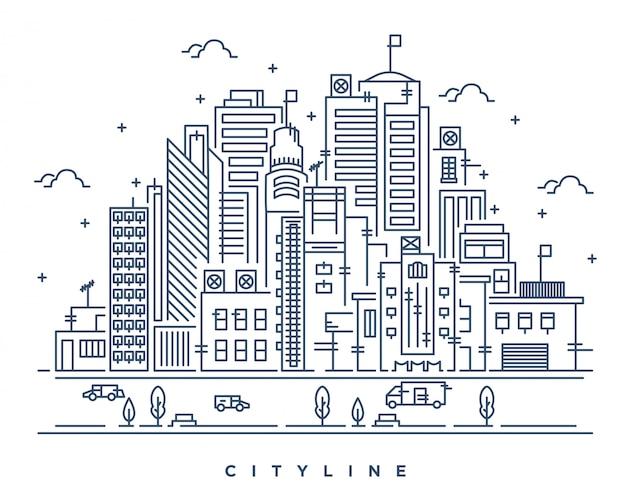 Linie art illustration der modernen großstadt Premium Vektoren