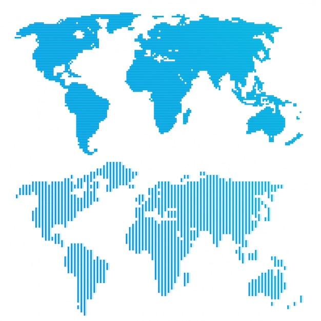 Linie blaue weltkarte Premium Vektoren