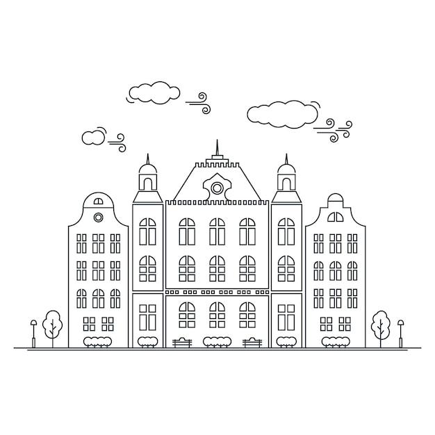 Linie kleine stadt. lineares stadtbild mit alten stadtwohnungen, kleinstadtstraße mit gebäudefassaden zeichnen. grafische lineart hippie-illustration des vektors. altes amsterdam. Premium Vektoren