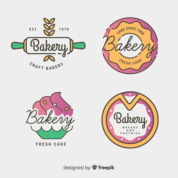 Linie kunst bäckerei logos schablonenset Kostenlosen Vektoren