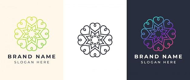 Linie kunst-mandala-logo Premium Vektoren