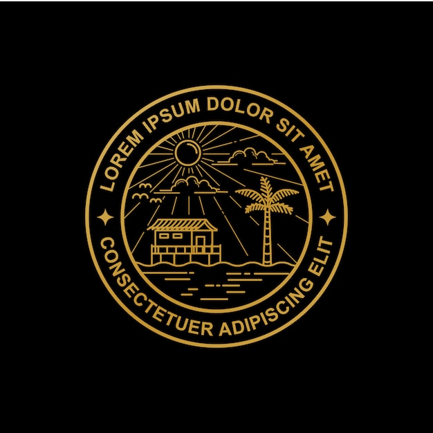 Linie kunst strand logo design Premium Vektoren