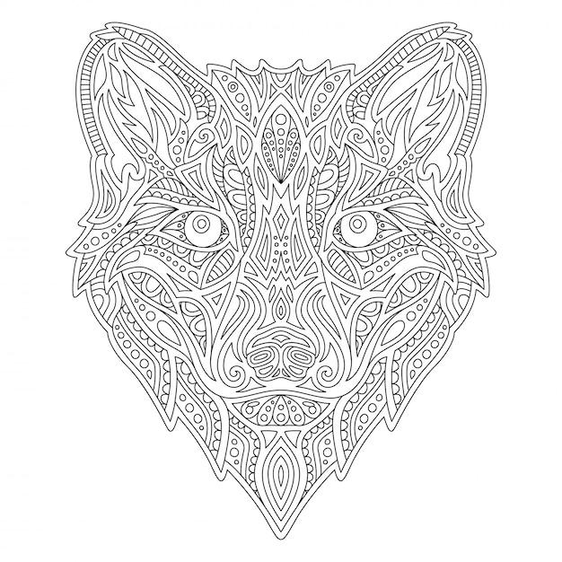 Linie malbuch mit wolfskopf Premium Vektoren