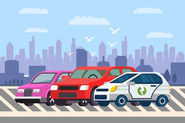 Linie von autos an der parkplatz-vektor-illustration Premium Vektoren