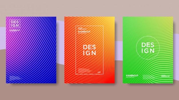 Linie, welle, farbverlauf, abstrakter und moderner hintergrund Premium Vektoren