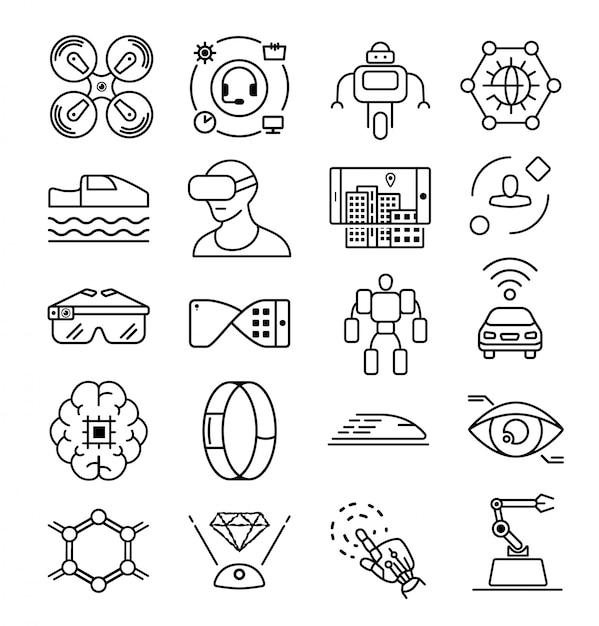 Linie zukunftstechnologie-symbol. zukunftswissenschaft symbol. computer-symbol. künstlich intelligent. informationstechnologie. roboterhand-symbol Premium Vektoren
