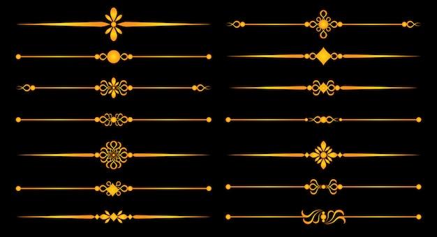Linien und ornamente aus gold - set für elegantes design und trennelemente für dekorative elemente Premium Vektoren