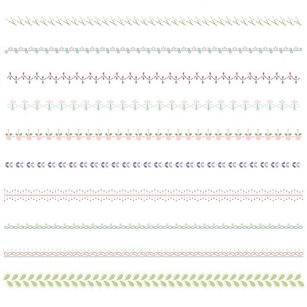 Linienbegrenzungssatz und scribble-designelement. Premium Vektoren