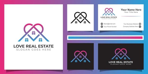 Linienlogo der liebe immobilienlogo, lieblingsgebäudeimmobilienlogo und visitenkartenentwurf Premium Vektoren
